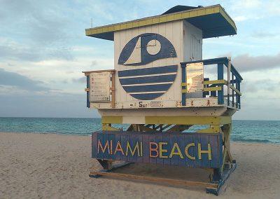 Art deco beach hut on Miami Beach
