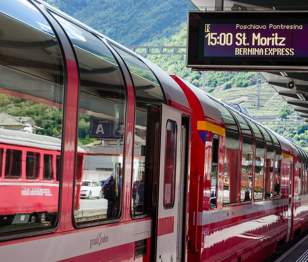 Pontresina - The Bernina Express arriving from St-Moritz